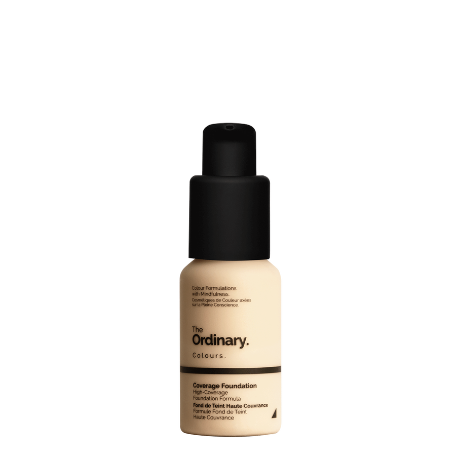 The Ordinary Bottle of The Ordinary Coverage Foundation 1.2 YG light with yellow undertones and gold highlights