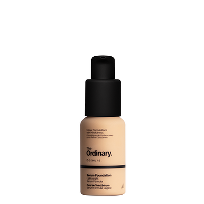 The Ordinary Bottle of The Ordinary Serum Foundation 1.2 YG light with yellow undertones and gold highlights